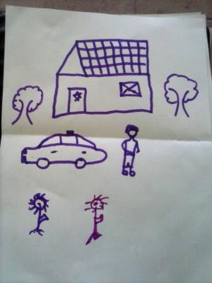 Dibujo de niño migrante